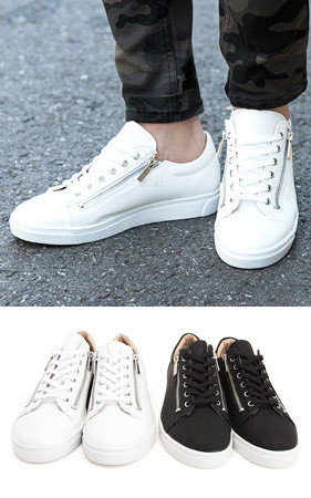 双拉链胶底帆布鞋