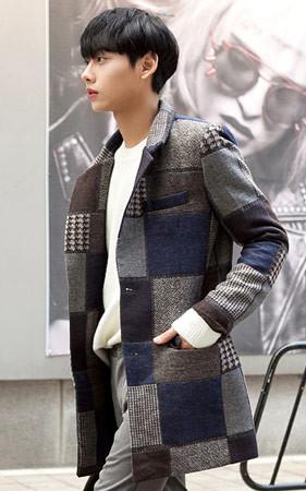 纸图案呢子大衣