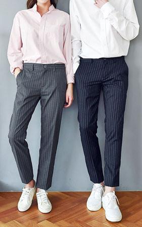 情侣细条纹宽松长裤