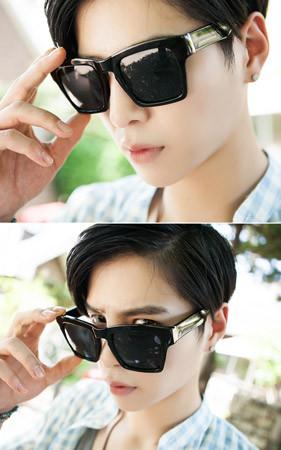 双色方框太阳镜/墨镜