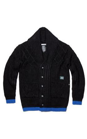瓦基巴库特级X披巾开衫(黑)