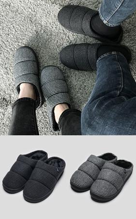 情侣购买额外2,000韩元的折扣<br>羊毛蓬松的皮毛蟒蛇羽绒服拖鞋