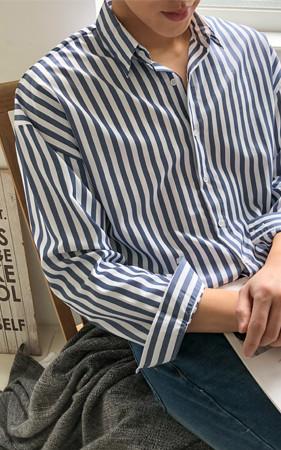 宽松款块条纹衬衫