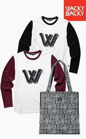 [1 + 1限量优质30套] <br> W Sparkling T恤衫+骷髅佩斯利单肩包
