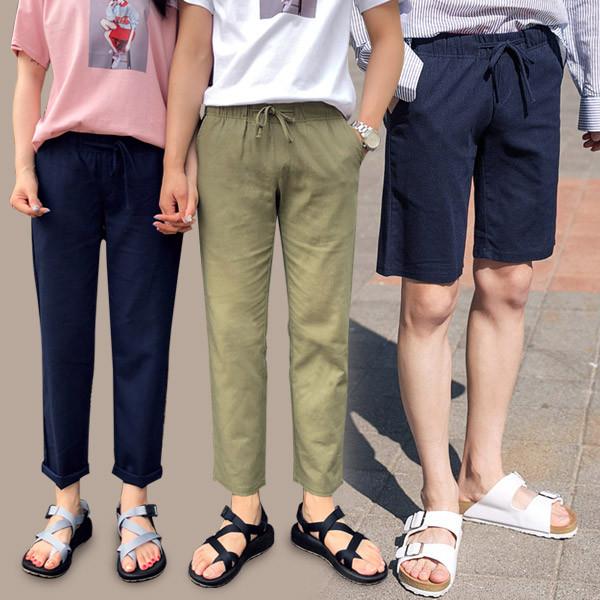 [1 + 1] 10color麻麻麻紧紧裤+松紧带短裤