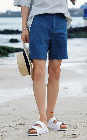 夏天半条100%亚麻短裤