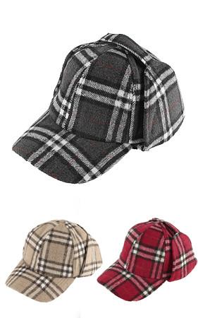 羊毛格子耳帽