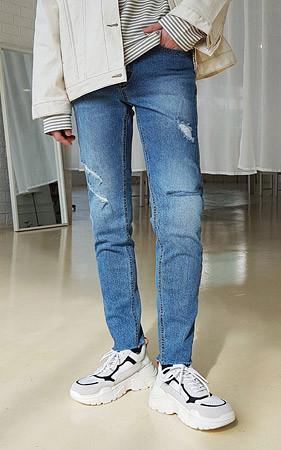 对角디Destroid牛仔裤
