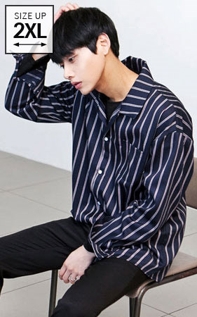 2018春季男装科迪<br>利摩日条纹宽松款衬衫