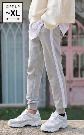 罗纹色慢跑裤