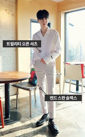 [协调套装]领衬衫+弹力宽松长裤