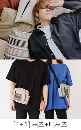 [1 + 1]褶皱弹簧衬衫+ 12color宽松短袖T恤衫
