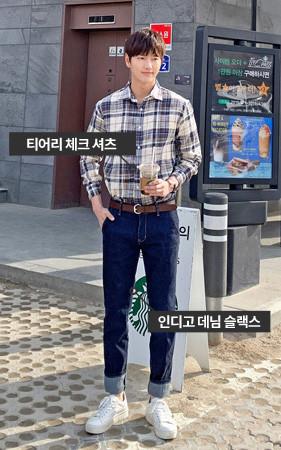 [协调套装]虎格衬衫+靛蓝牛仔色宽松长裤