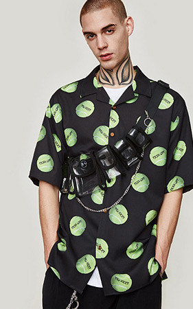 网球图案宽松款衬衫衬衫