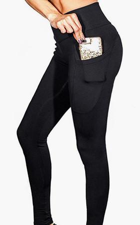 妇女<br>口袋打底裤黑瑜伽服