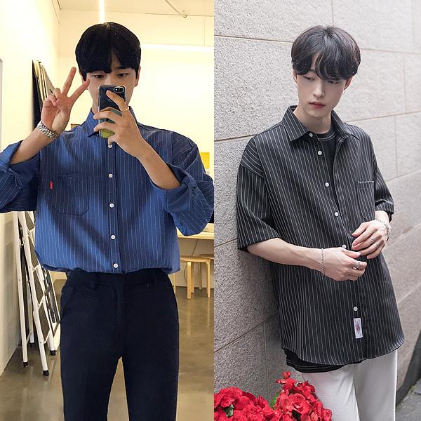 [1 + 1] 2TYPE宽松款针织衫衬衫+ 2TYPE图案宽松小팔衬衫