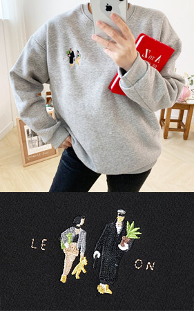 Matilda&Leon刺绣宽松款加绒运动衫<br>购买1 + 1可获得2,000韩元的额外折扣