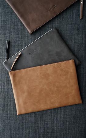 简单皮革(无带)提包包