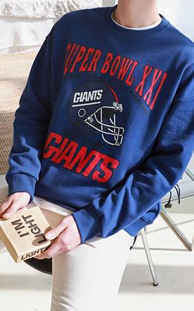 Super Bowl复古/仿旧印花运动衫