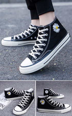 预购预售<Br> <B>G</b> oo <B>D</b>花高帮运动鞋胶底帆布鞋