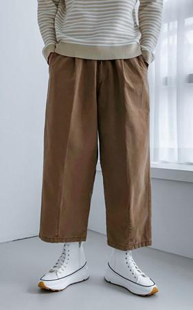 斜纹棉布阔腿裤